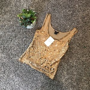 Gold Sequined Tank — NWT